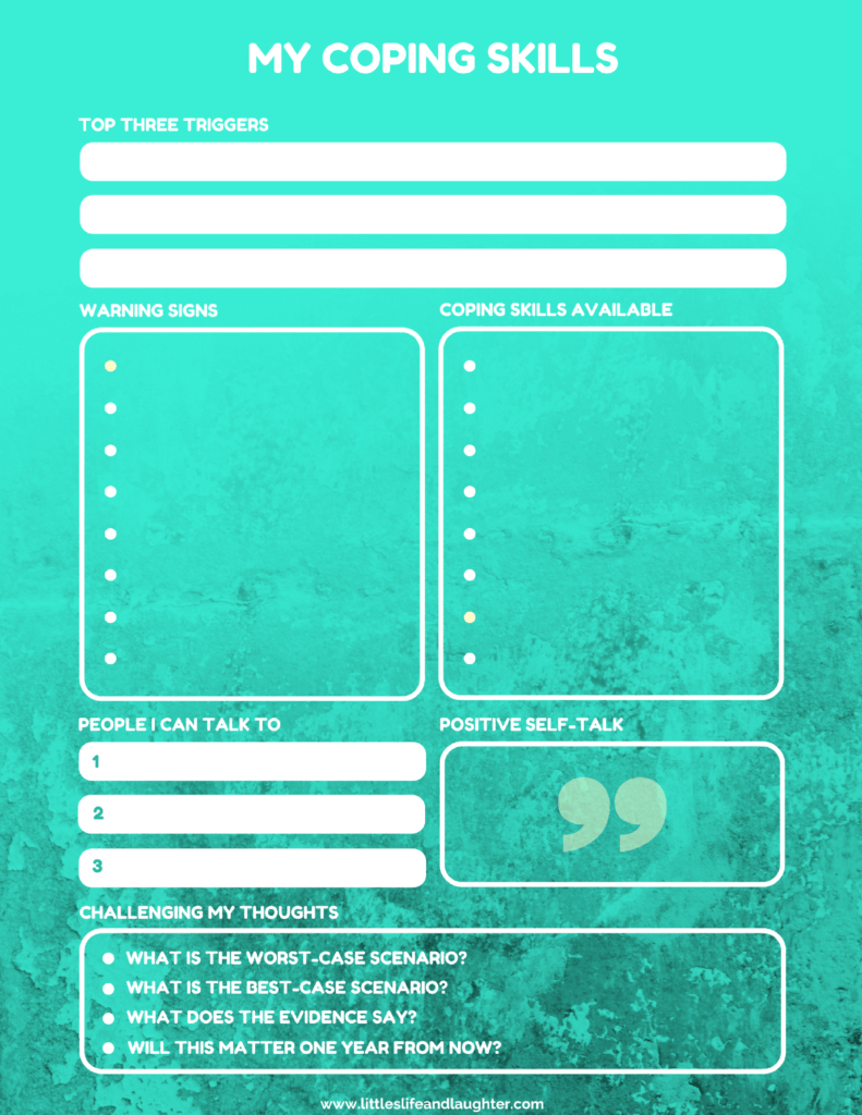 Coping Skills Worksheet For Kids | Counseling For Young Adults | Free Printable Coping Skills Worksheets For Adults