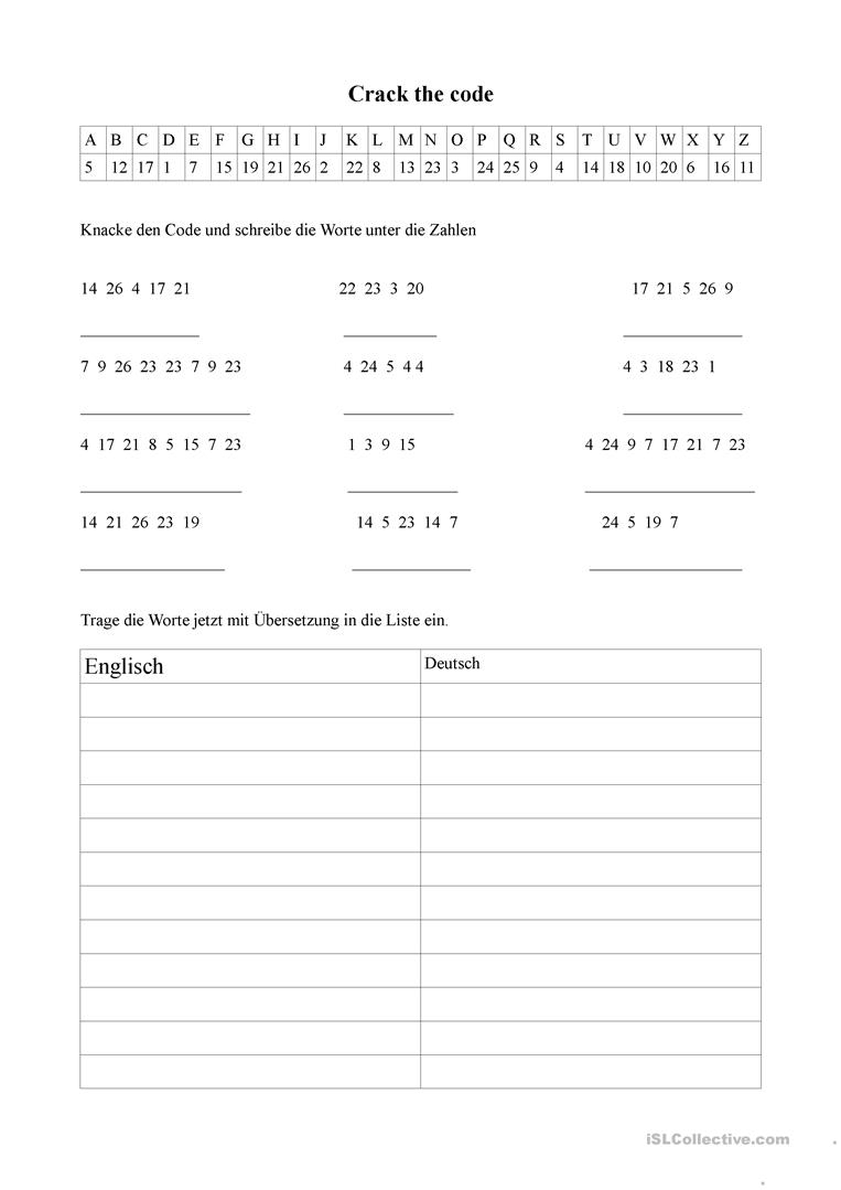 Crack The Code Worksheet - Free Esl Printable Worksheets Made | Crack The Code Worksheets Printable