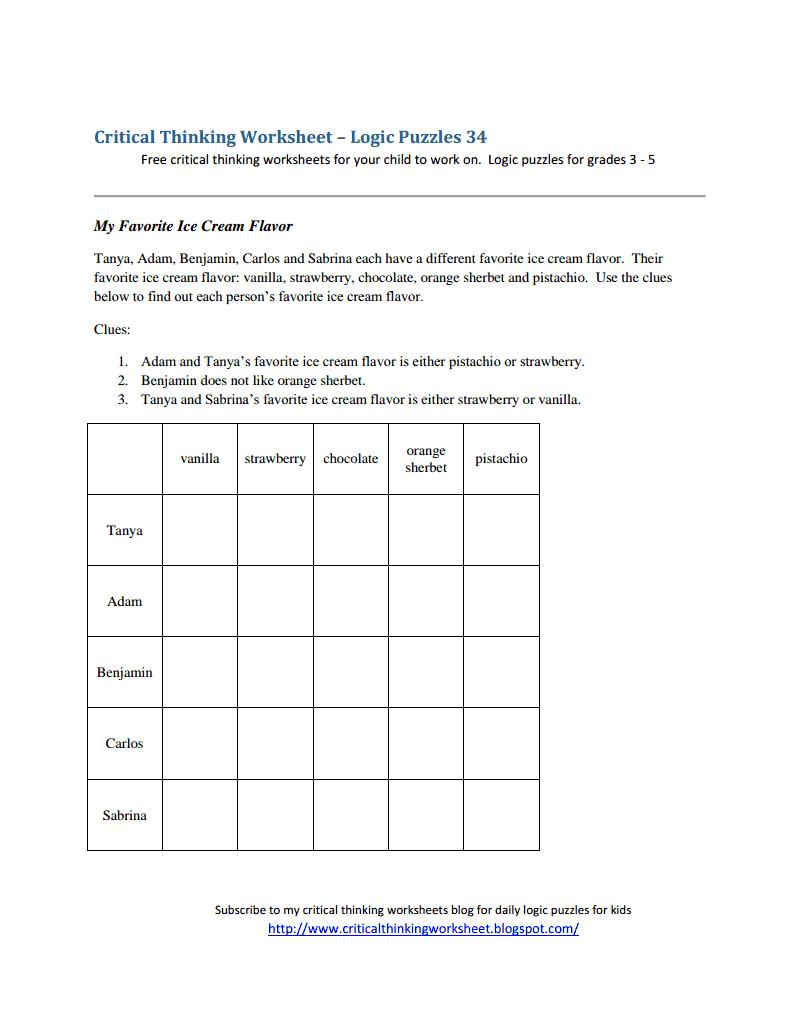 Critical Thinking Worksheet - Logic Puzzles 34.pdf - Logic Puzzles | Printable Perplexors Worksheets
