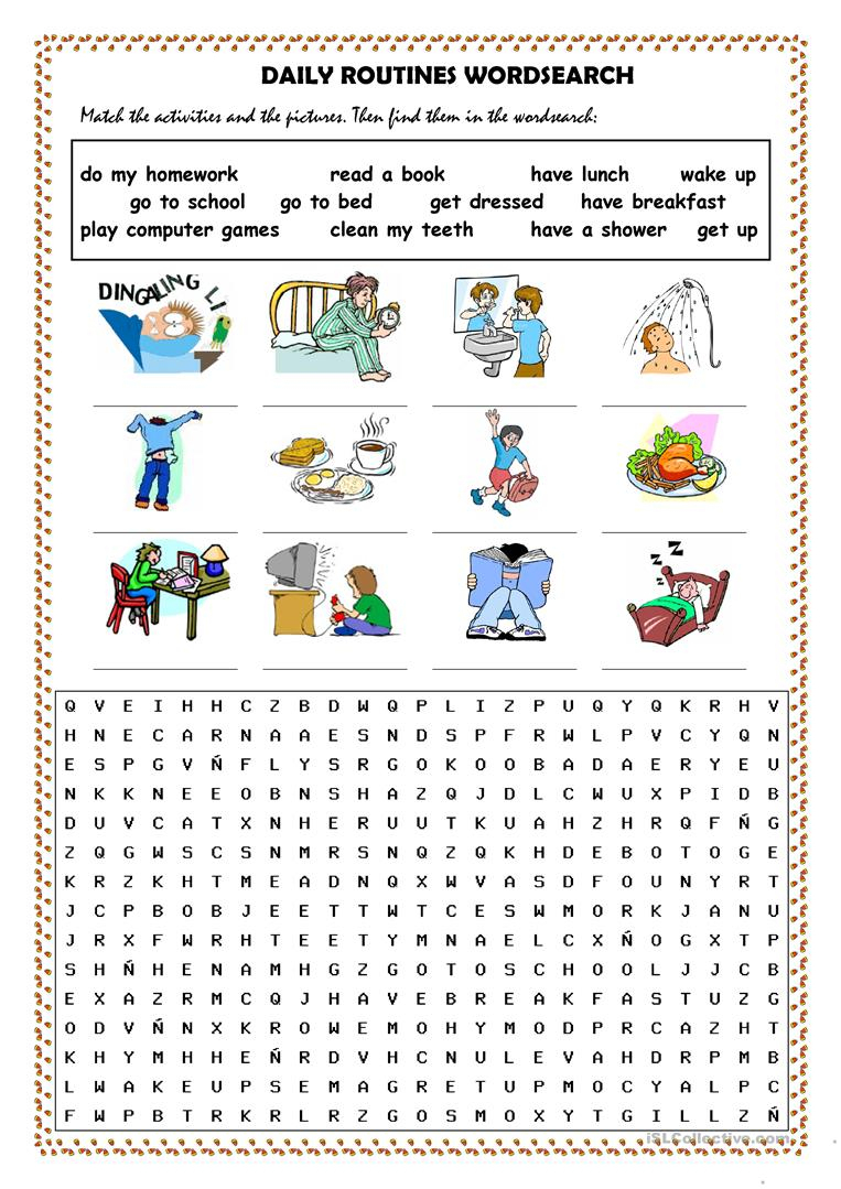 Daily Routines Picture Dictionary And Wordsearch Worksheet - Free | Daily Routines Printable Worksheets