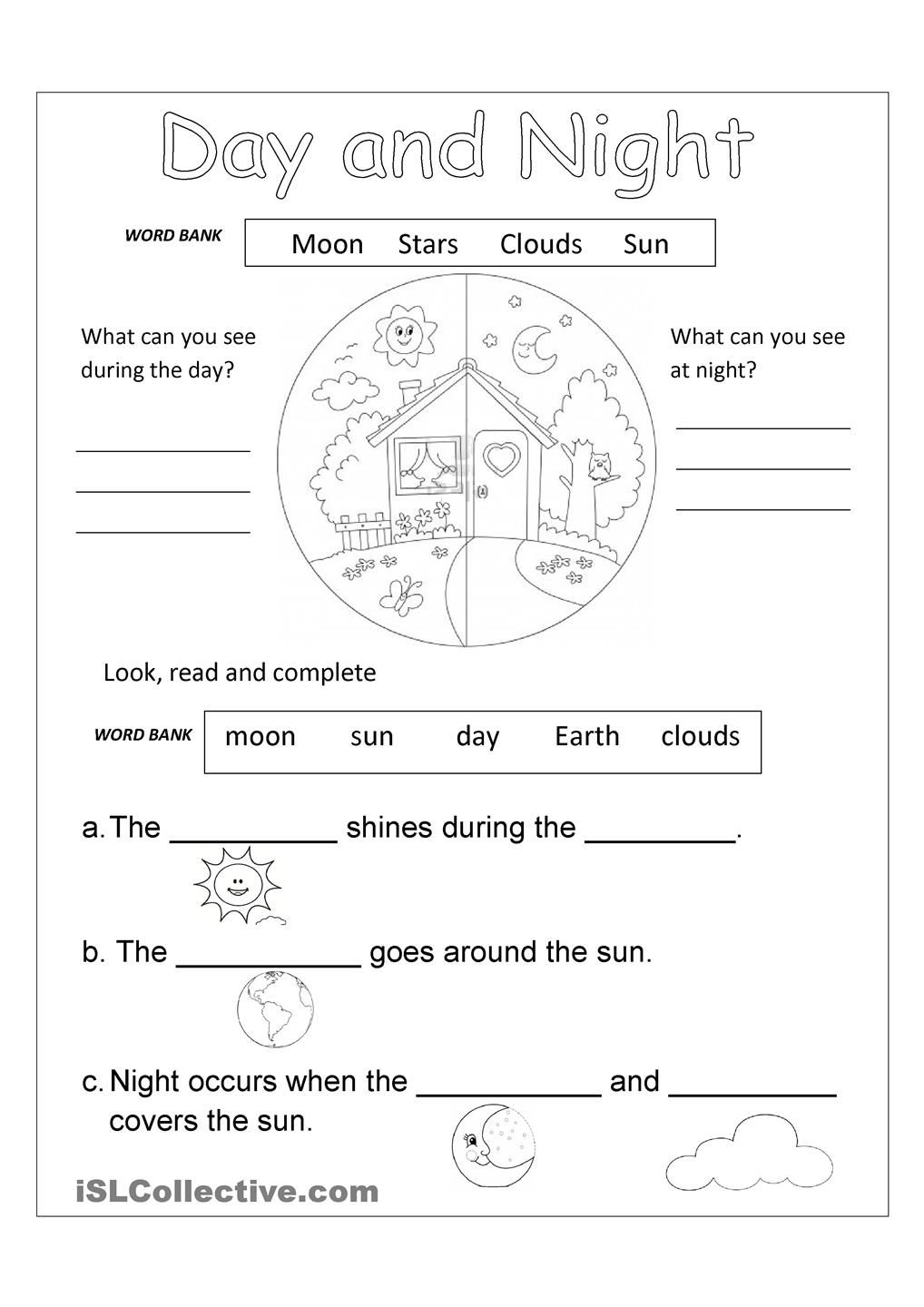 Day And Night Free Worksheet | School - New Science Standards | Day And Night Printable Worksheets