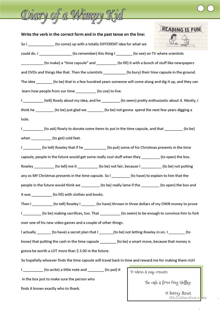 Diary Of A Wimpy Kid (Fill In Missing Verbs In The Past Tense | Diary Of A Wimpy Kid Printable Worksheets