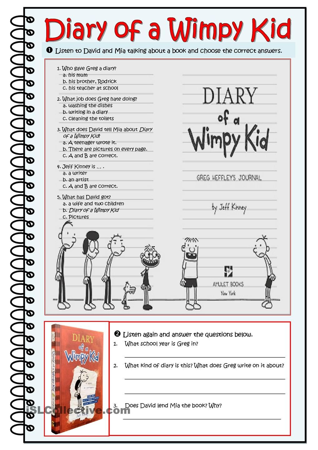 Diary Of A Wimpy Kid- Worksheet | Esl | Wimpy Kid Books, Wimpy Kid | Diary Of A Wimpy Kid Printable Worksheets