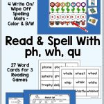 Digraphs Ph, Wh, Qu   Read And Spell Centers And Printables | Second | Qu Worksheets Printable