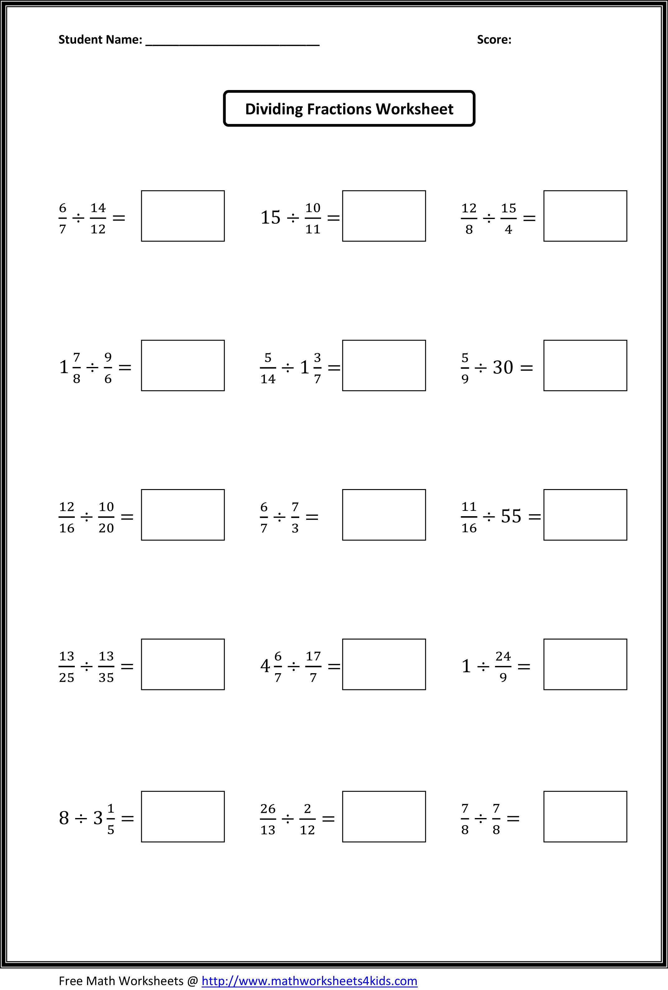Dividing Fractions Worksheets | What's New | Fractions Worksheets | Fraction Worksheets 6Th Grade Printable