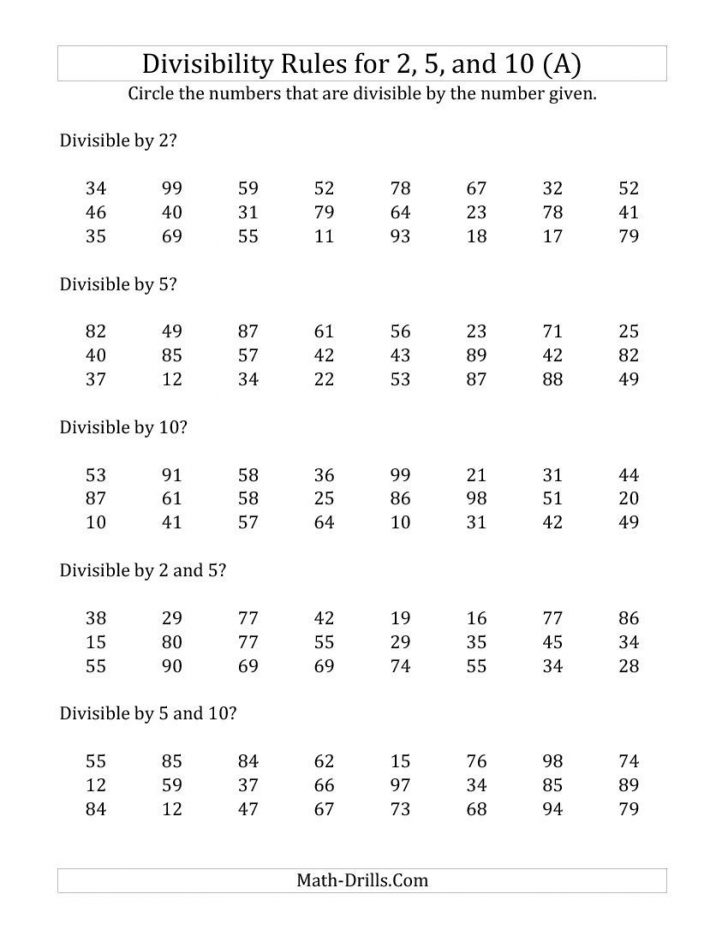 Divisibility Rules Worksheet Printable