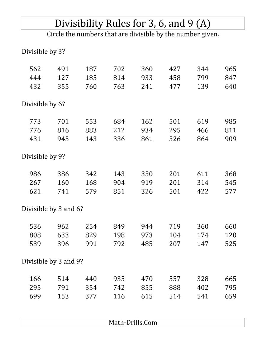 Divisibility Rules For 3, 6 And 9 (3 Digit Numbers) (A) | Divisibility Rules Worksheet Printable