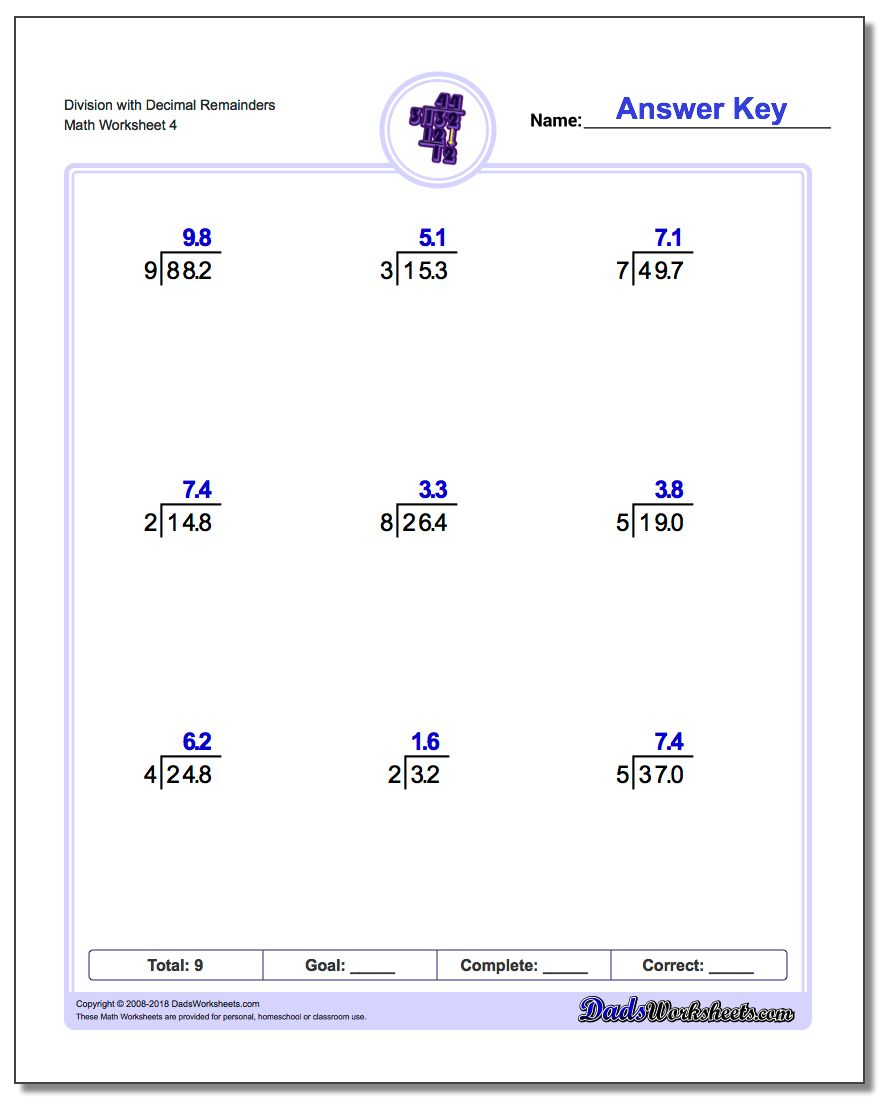 Division With Decimal Results | Dividing Decimals By Decimals Worksheets Printable