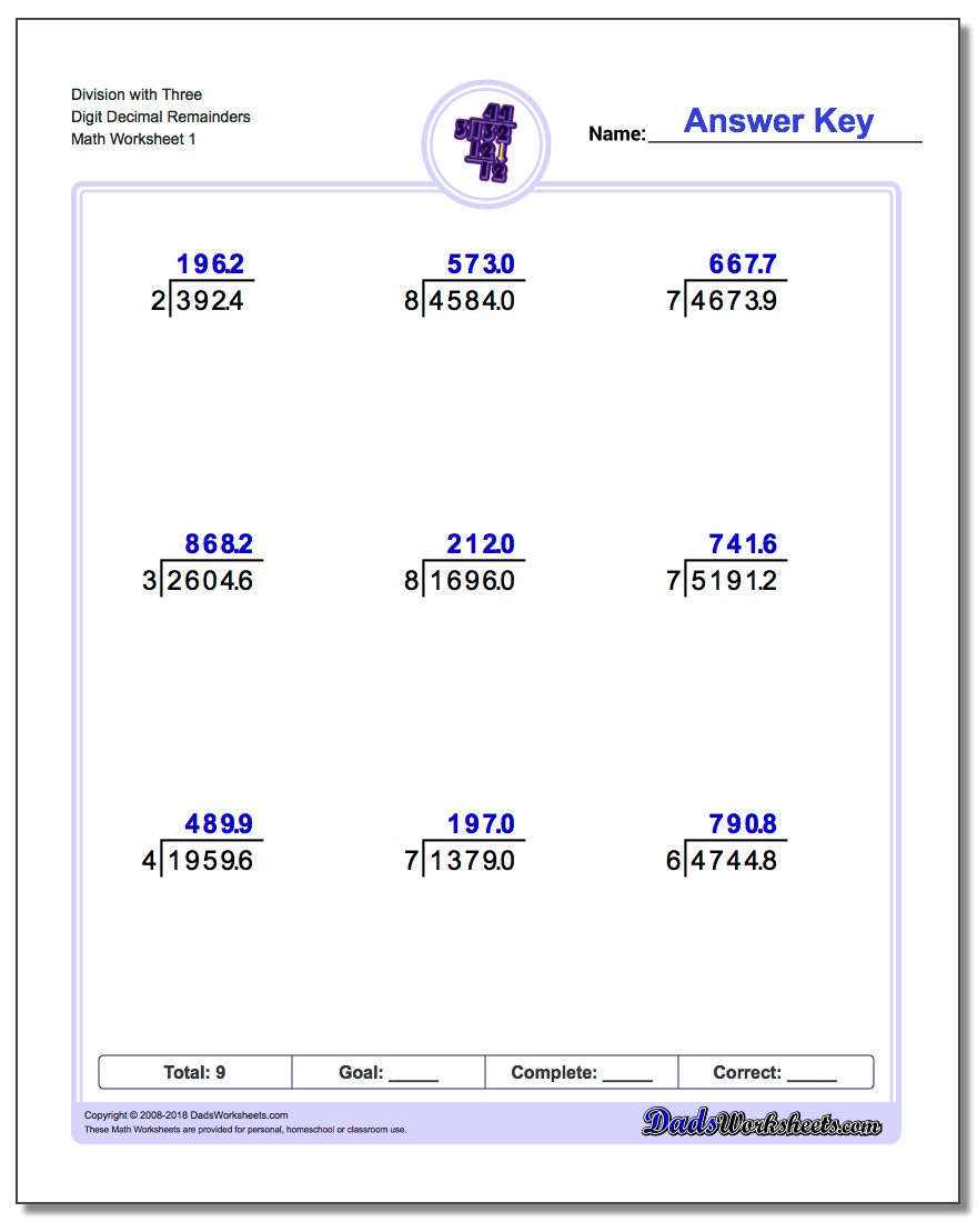 Division With Decimal Results | Printable Decimal Division Worksheets