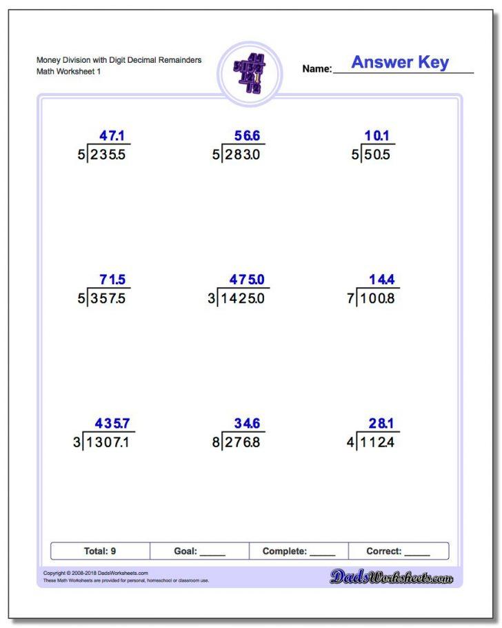 Printable Decimal Division Worksheets