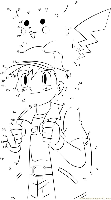 Download Or Print Cute Ash And Pikachu Dot To Dot Printable   Pokemon Worksheets Printable