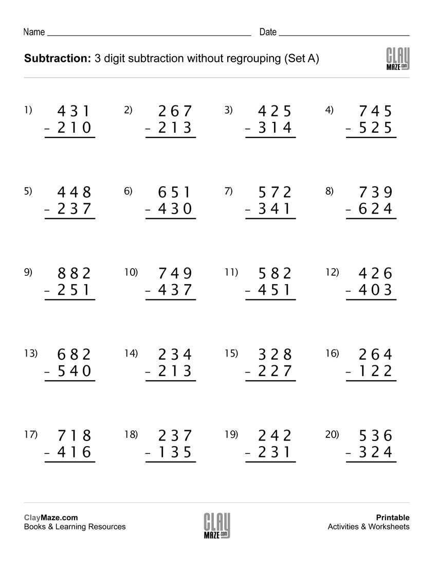 Download Our Free Printable 3 Digit Subtraction Worksheet With No | Printable Subtraction Worksheets