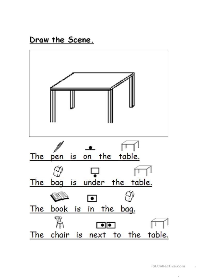 Draw The Scene Prepositions Worksheet - Free Esl Printable | Printable Preposition Worksheets