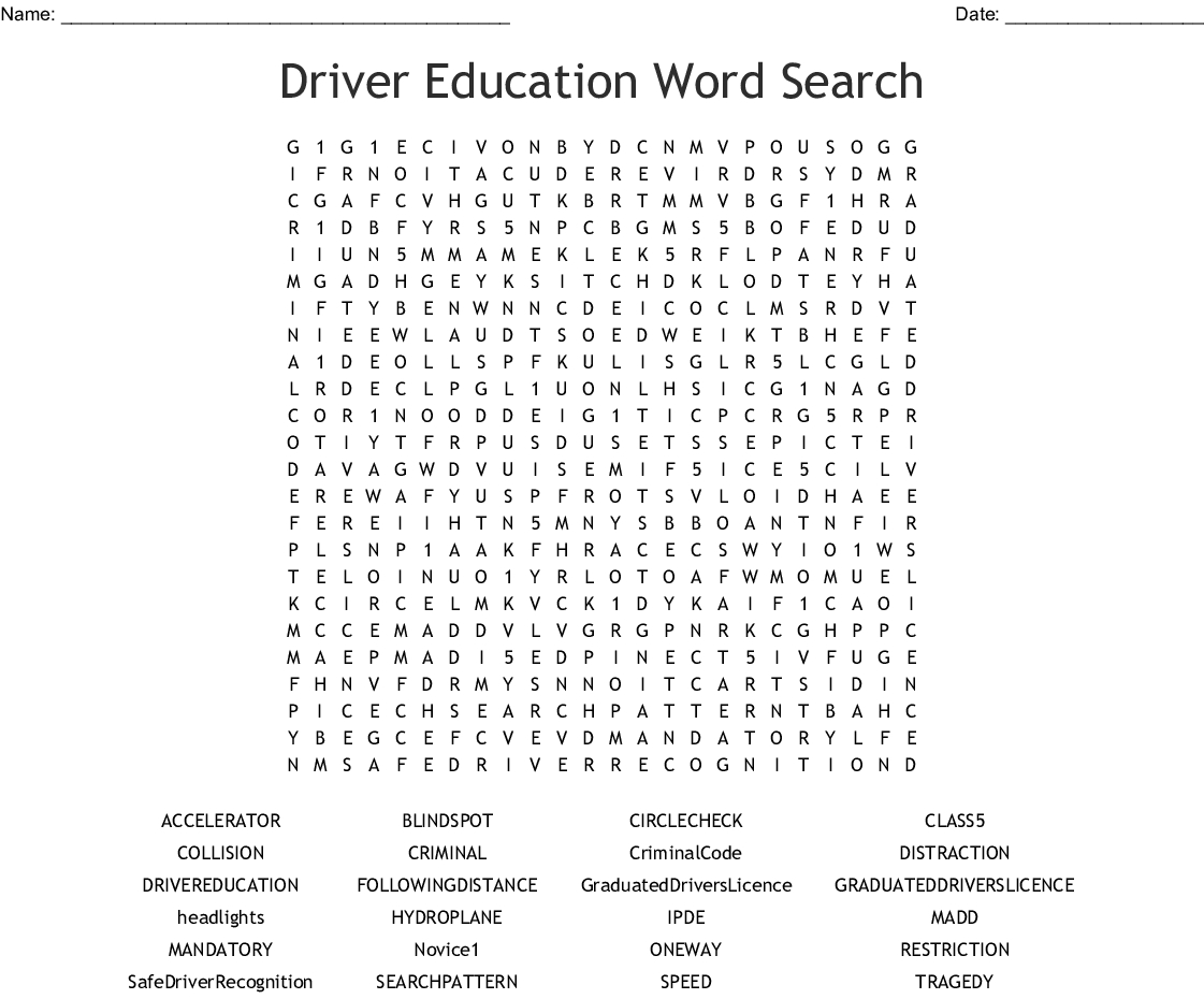 Driver Education Word Search - Wordmint | Printable Worksheets For Drivers Education