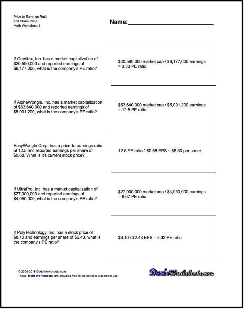 Earnings Per Share Worksheets | Math Worksheets | Free Math | Printable Perplexors Worksheets