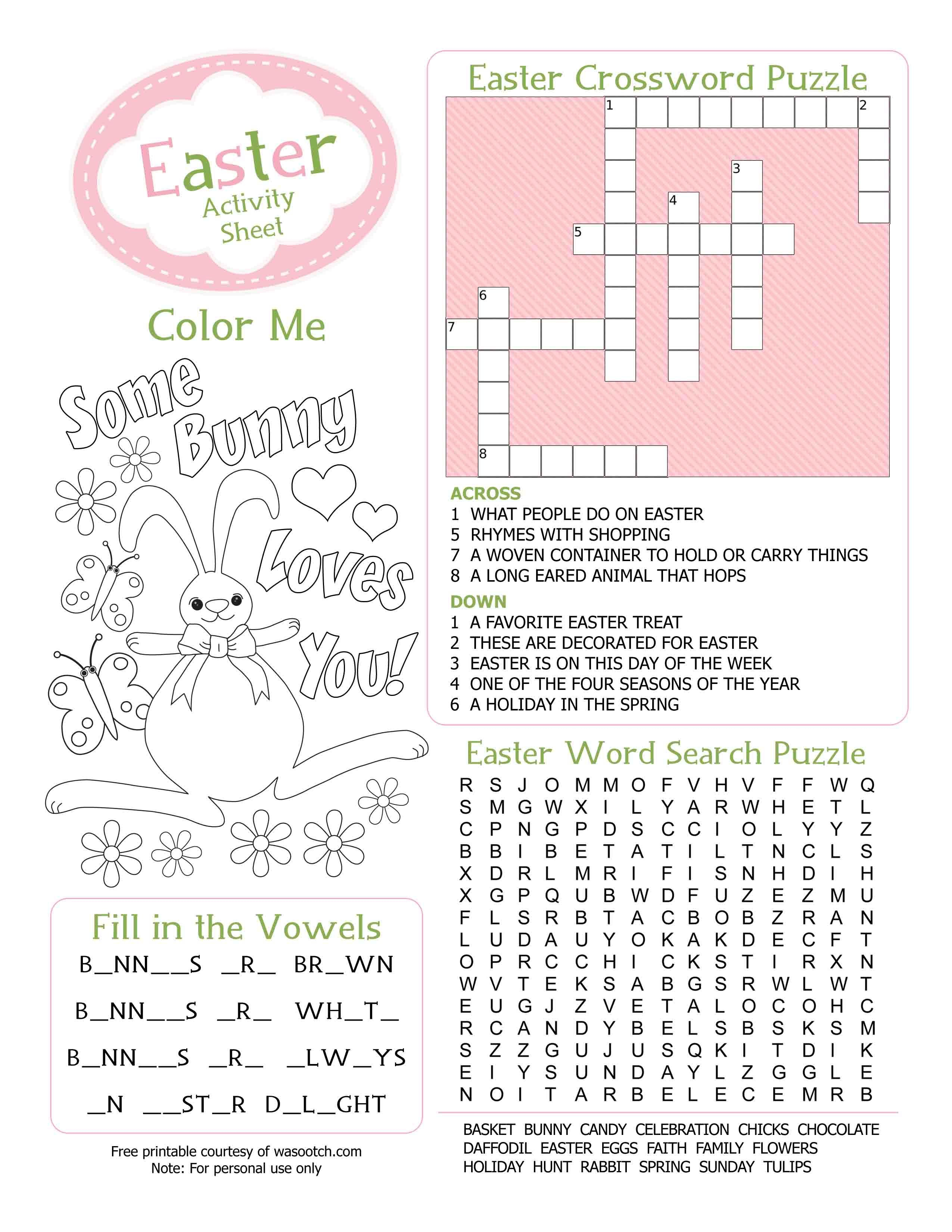 Easter Kid's Activity Sheet Free Printables Available @party | Free Printable Kid Activities Worksheets