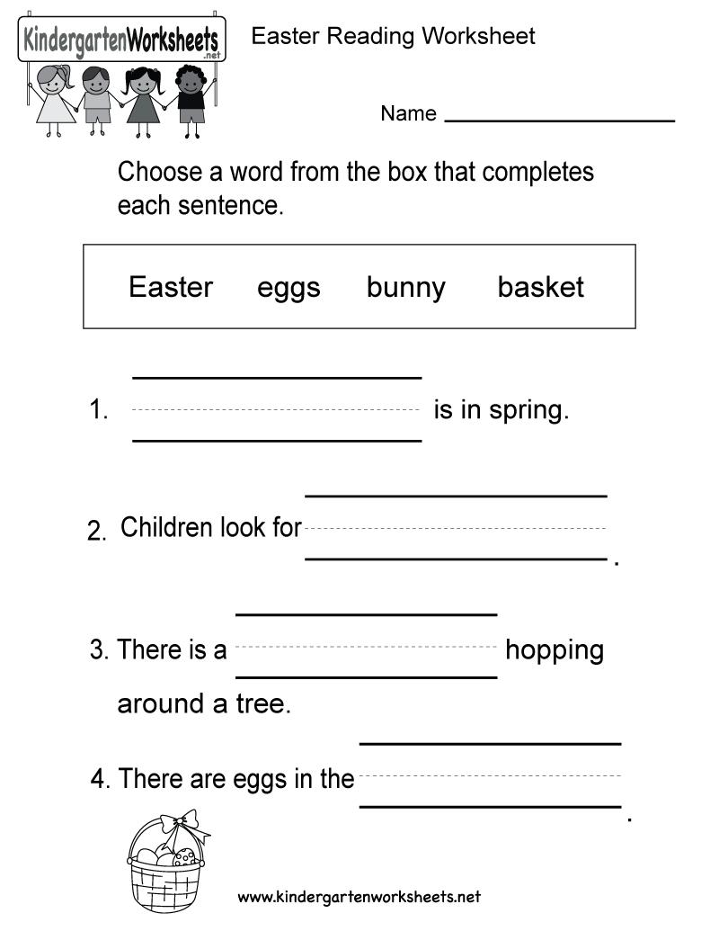 Easter Reading Worksheet - Free Kindergarten Holiday Worksheet For Kids | Free Printable Easter Reading Comprehension Worksheets