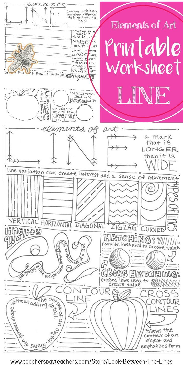 Element Of Art Line Worksheet: Visual Art Classroom Activity | Art | Printable Art Worksheets