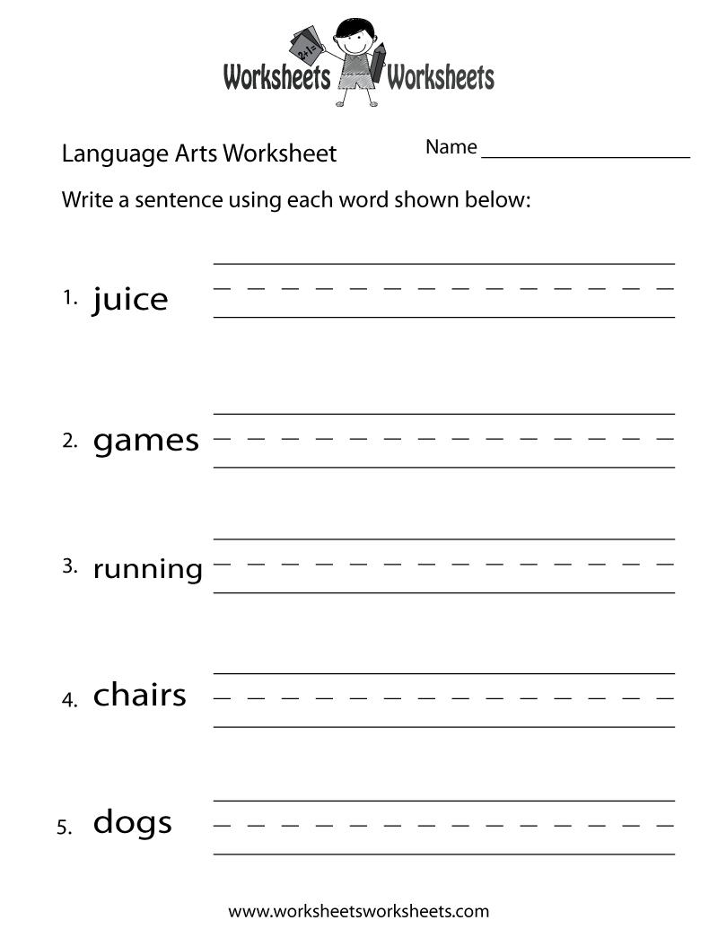 English Language Arts Worksheet - Free Printable Educational | Free Printable Language Worksheets