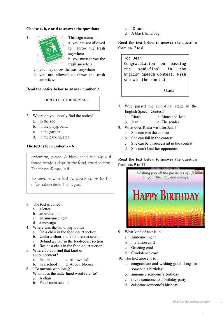 English Test For Grade 7 Worksheet - Free Esl Printable Worksheets   Year 7 English Worksheets Printable