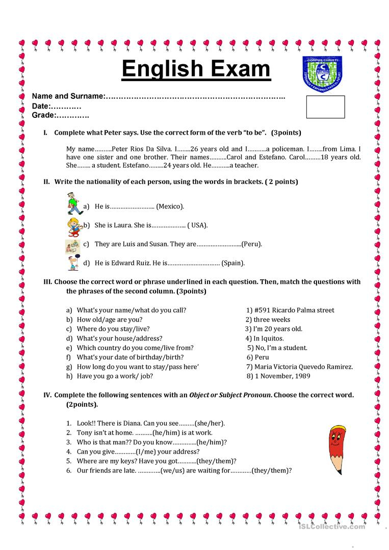 English Test Worksheet - Free Esl Printable Worksheets Madeteachers | English Test Printable Worksheets