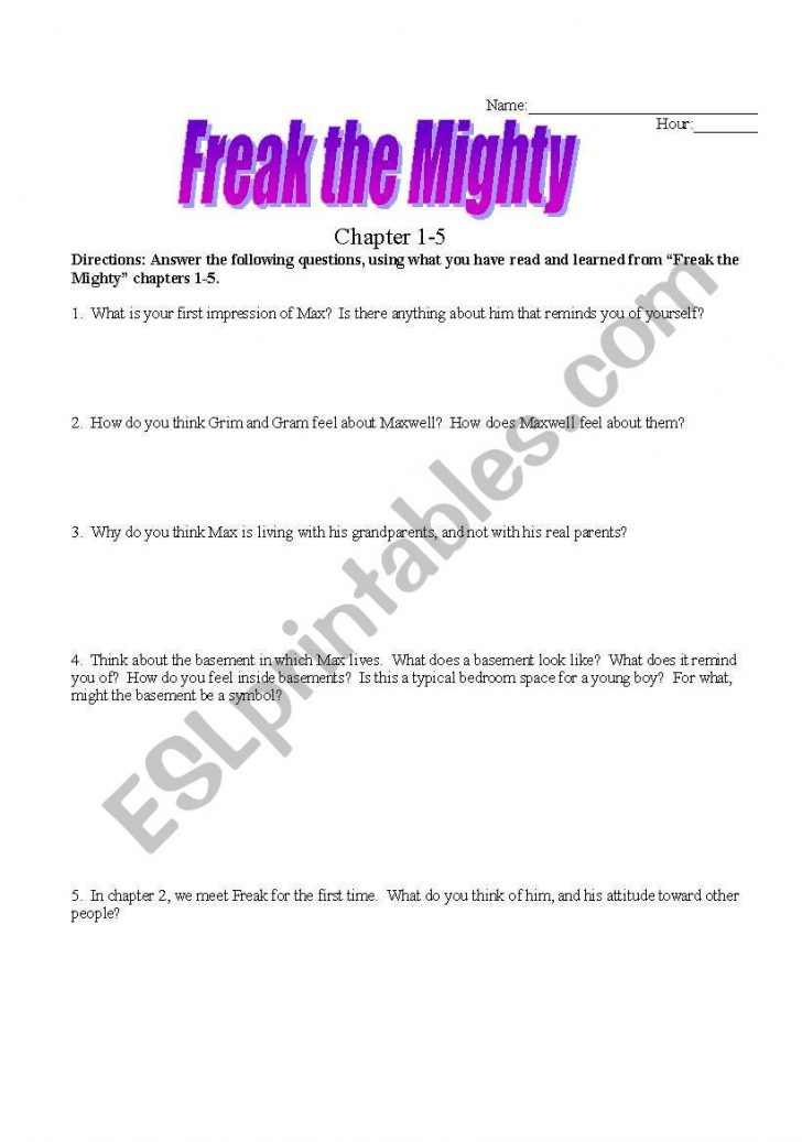 Freak The Mighty Printable Worksheets