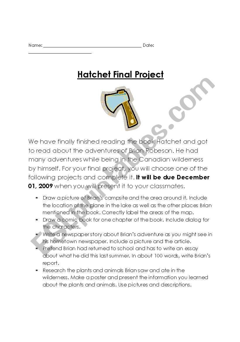 English Worksheets: Hatchet Final Project | Hatchet Worksheets Printable