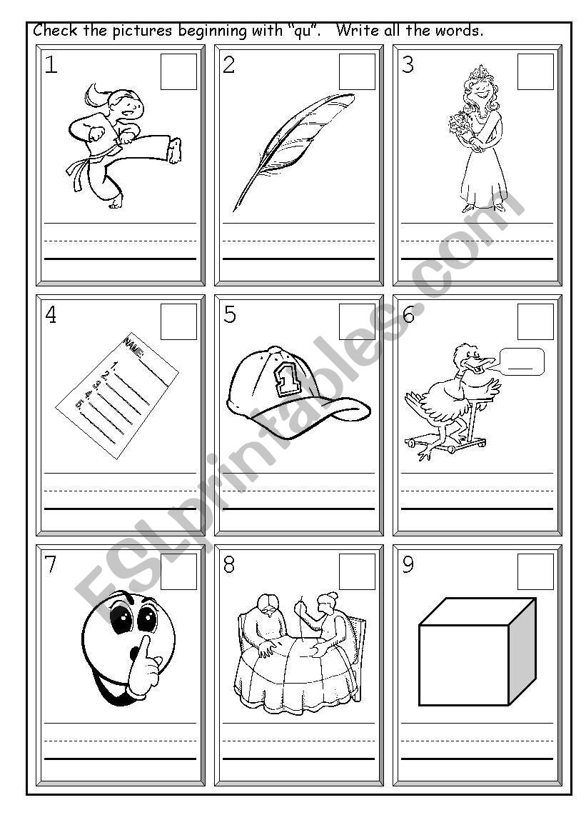 English Worksheets: Phonics Qu | Qu Worksheets Printable