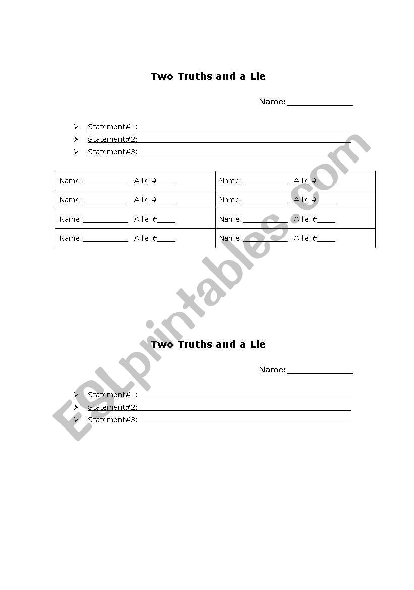 English Worksheets: Two Truths And A Lie | Two Truths And A Lie Worksheet Printable