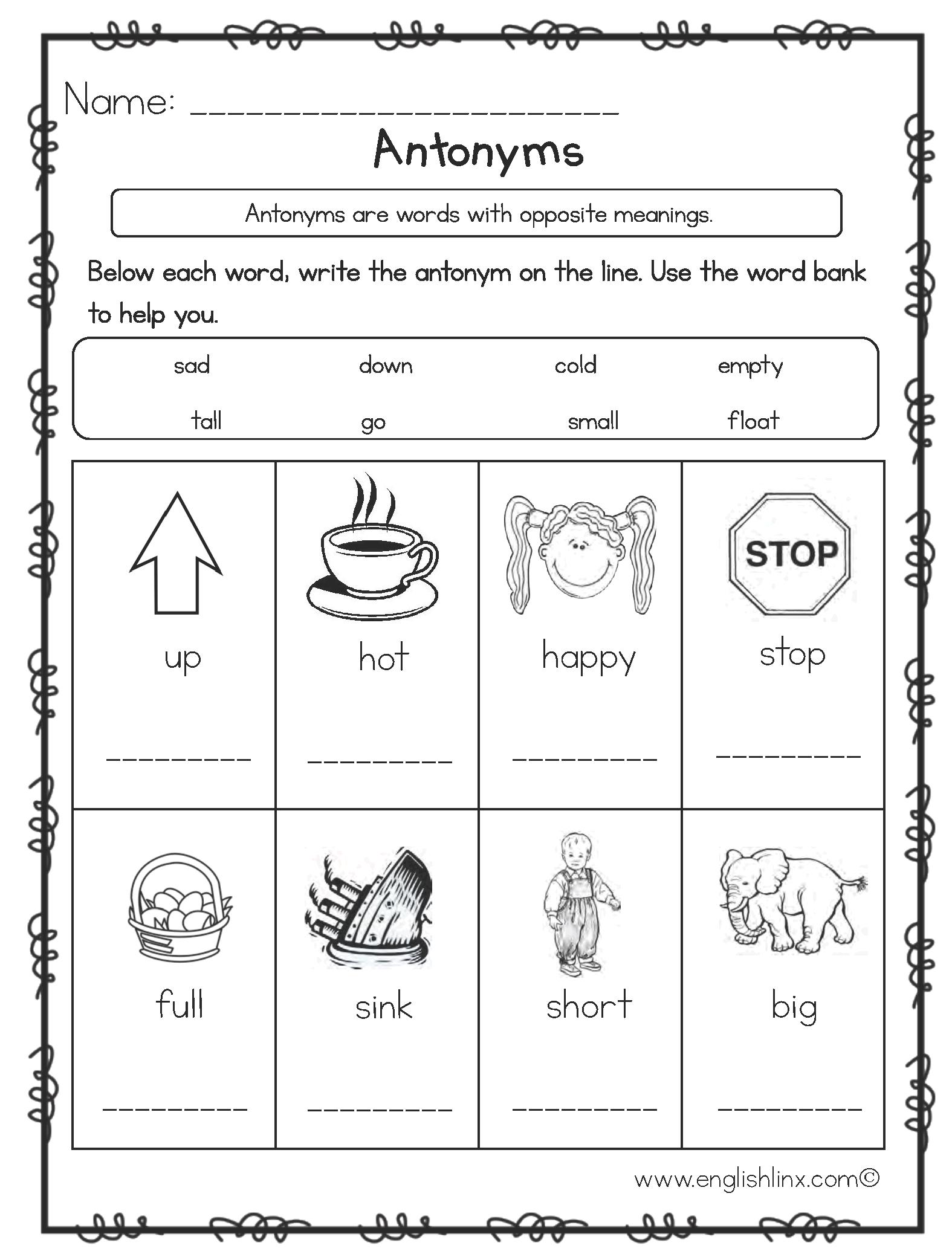 Englishlinx | Antonyms Worksheets | Antonyms Printable Worksheets