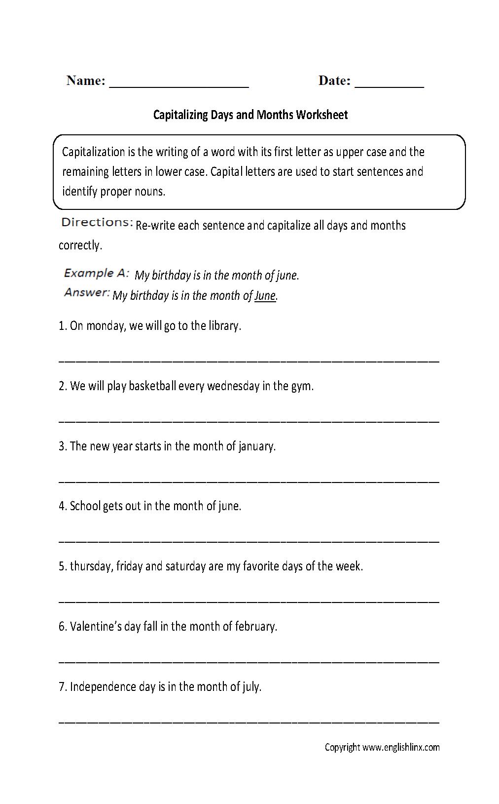 Englishlinx | Capitalization Worksheets | Free Printable Worksheets For Punctuation And Capitalization