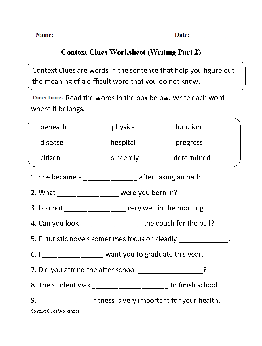 Englishlinx | Context Clues Worksheets | Context Clues Printable Worksheets 6Th Grade