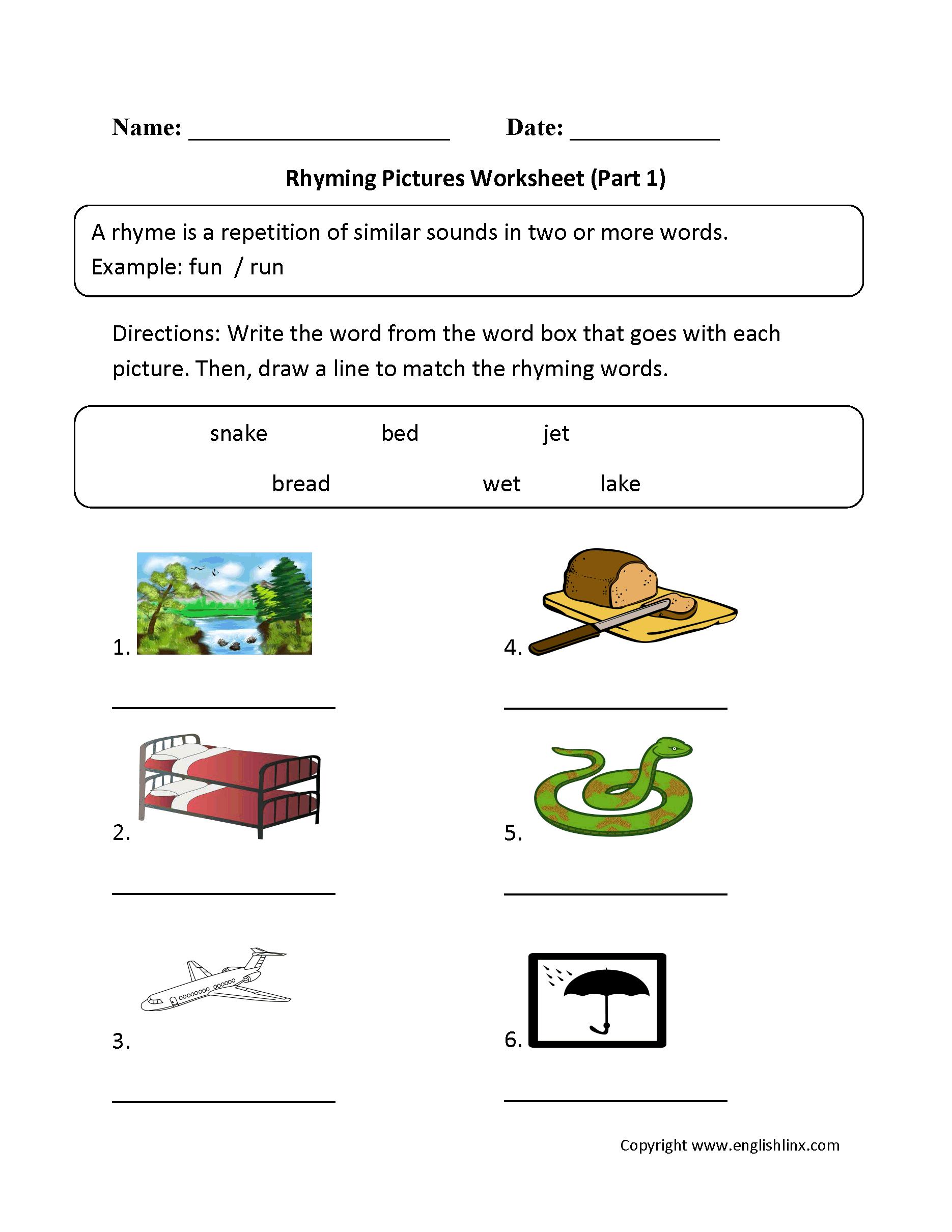 Englishlinx   Rhyming Worksheets   Free Printable Rhyming Words Worksheets