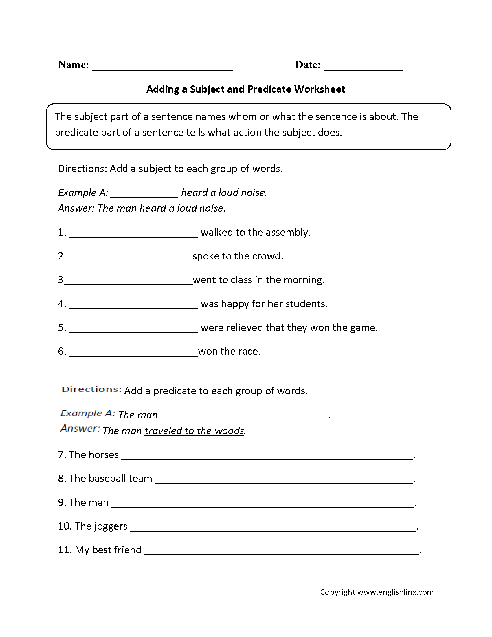 Englishlinx | Subject And Predicate Worksheets - 9Th Grade English | 9Th Grade Printable Worksheets Free
