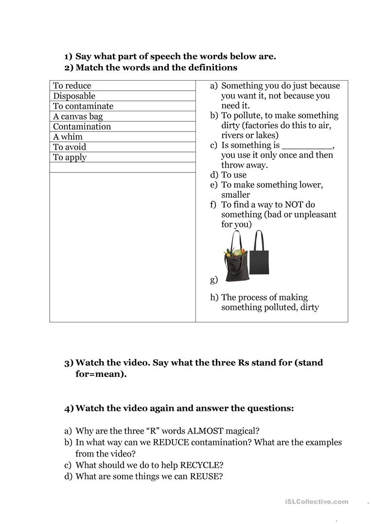 Environment, Reduce, Reuse, Recycle (Video Lesson) Worksheet - Free | Recycle Worksheets Printable