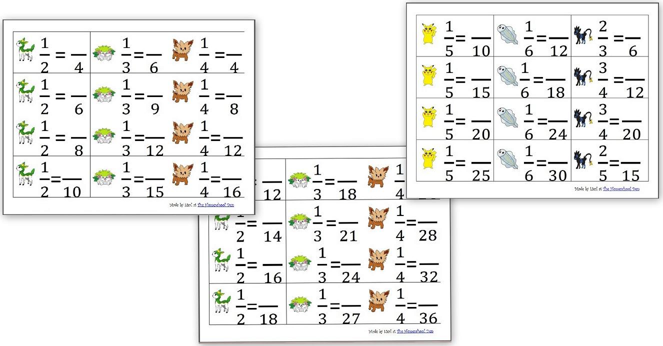 Equivalent Fraction Cards (Pokemon Theme) - Homeschool Den   Pokemon Worksheets Printable