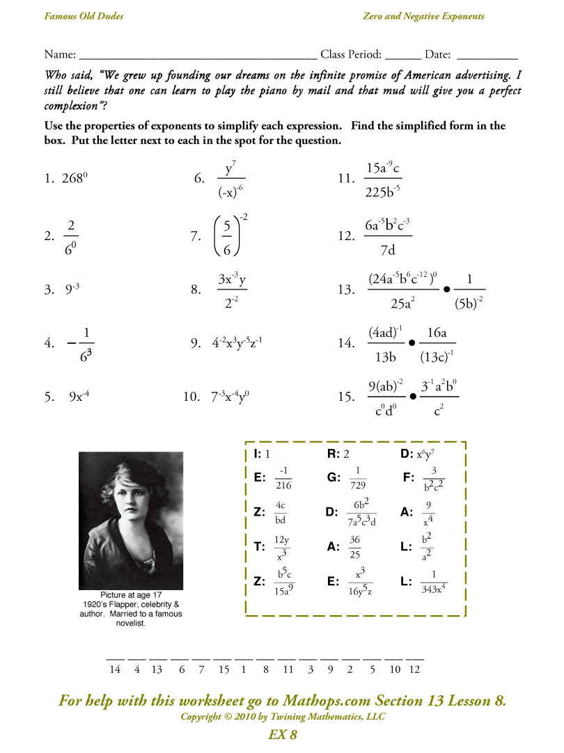 Ex 8: Zero And Negative Exponents - Mathops | Negative Exponents Worksheets Printable