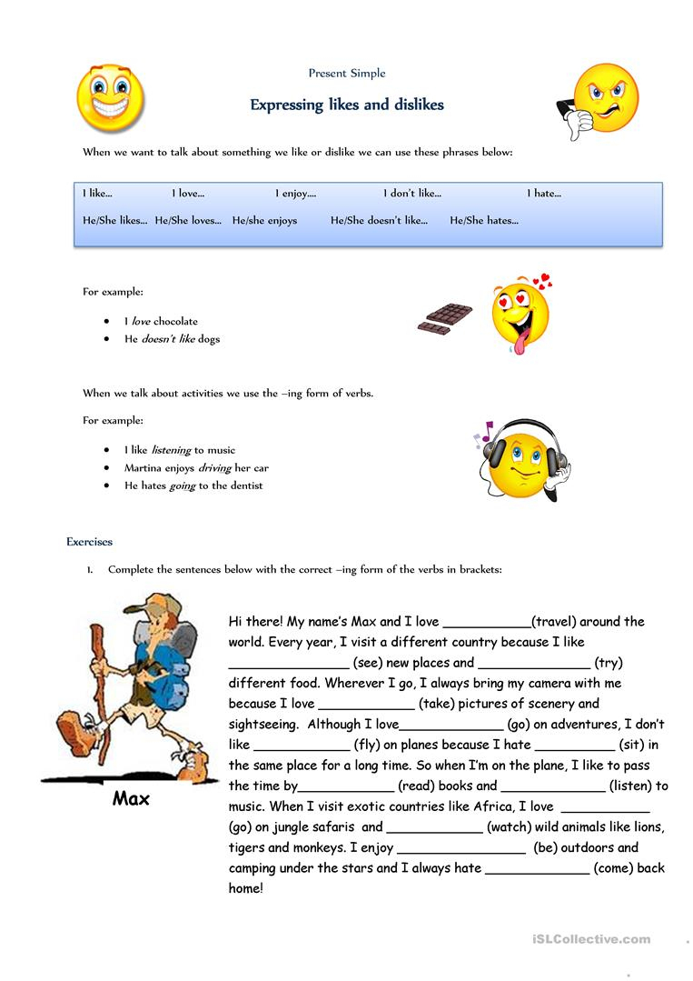 Expressing Likes And Dislikes Worksheet - Free Esl Printable | Likes And Dislikes Worksheets Printable
