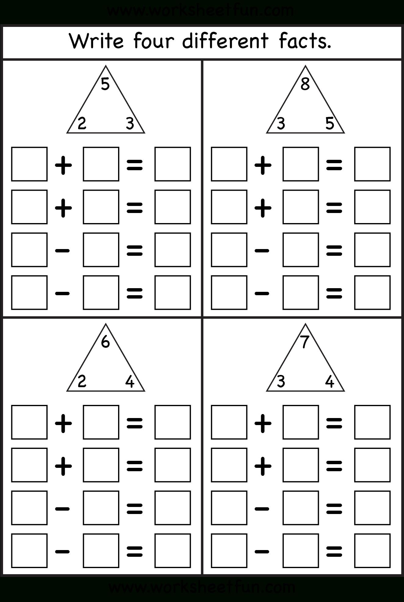 Fact Family - 4 Worksheets | Printable Worksheets | Math Worksheets | Rainbow Facts Worksheets Printable
