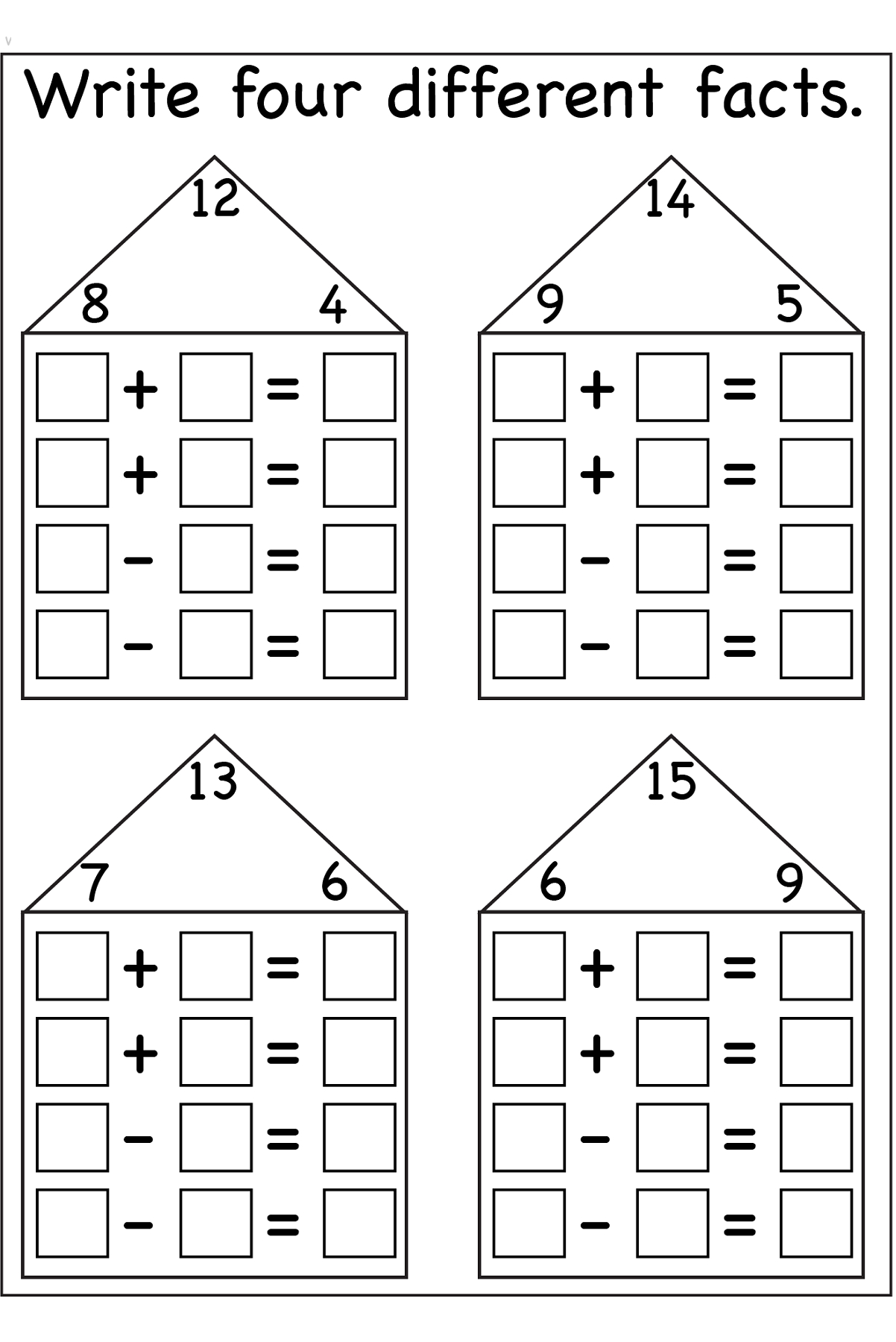 Fact Family Worksheets Printable | Math Centers And Activities | Rainbow Facts Worksheets Printable
