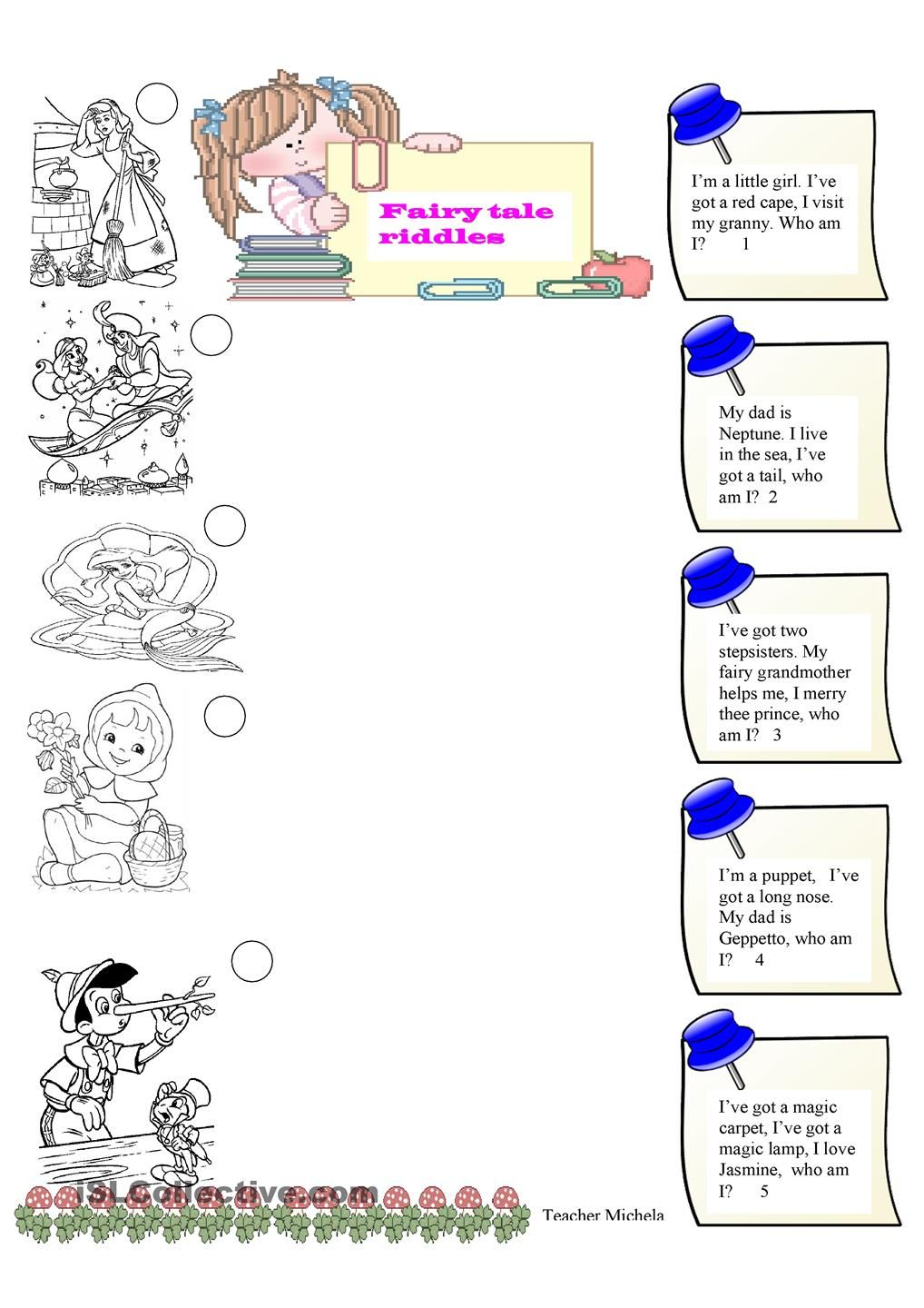 Fairy Tale Riddles   Traditional Tales   Fairy Tales, Riddles   Fairy Tales Printable Worksheets