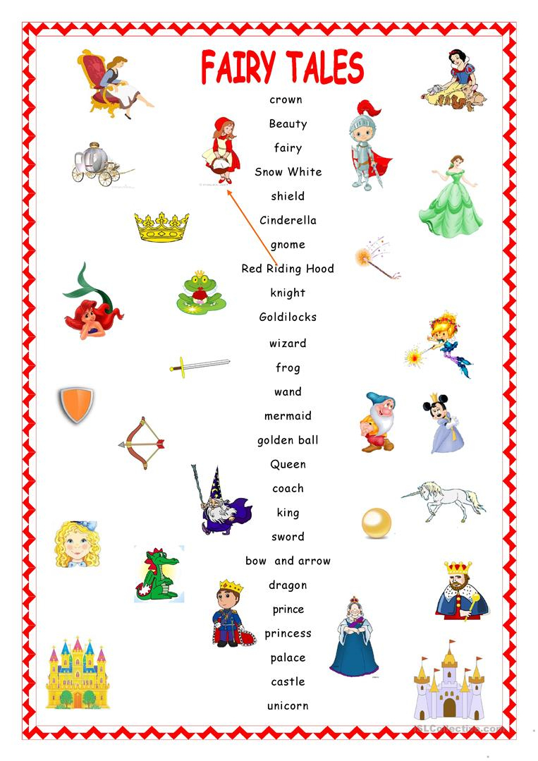 Fairy Tales.matching. Worksheet - Free Esl Printable Worksheets Made | Fairy Tales Printable Worksheets
