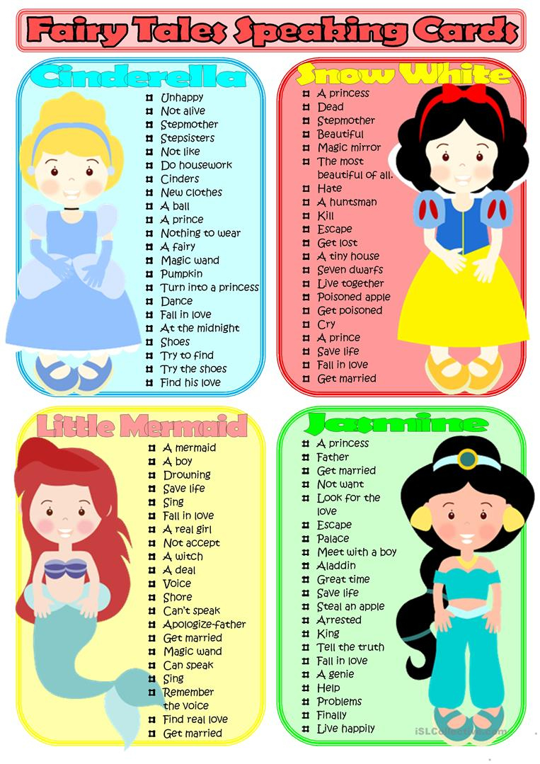 Fairy Tales Speaking Cards Worksheet - Free Esl Printable Worksheets   Fairy Tales Printable Worksheets