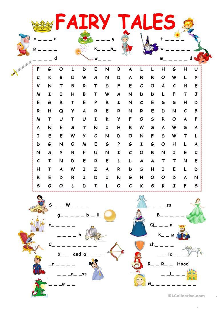 Fairy Tales.wordsearch Worksheet - Free Esl Printable Worksheets | Fairy Tale Printable Worksheets