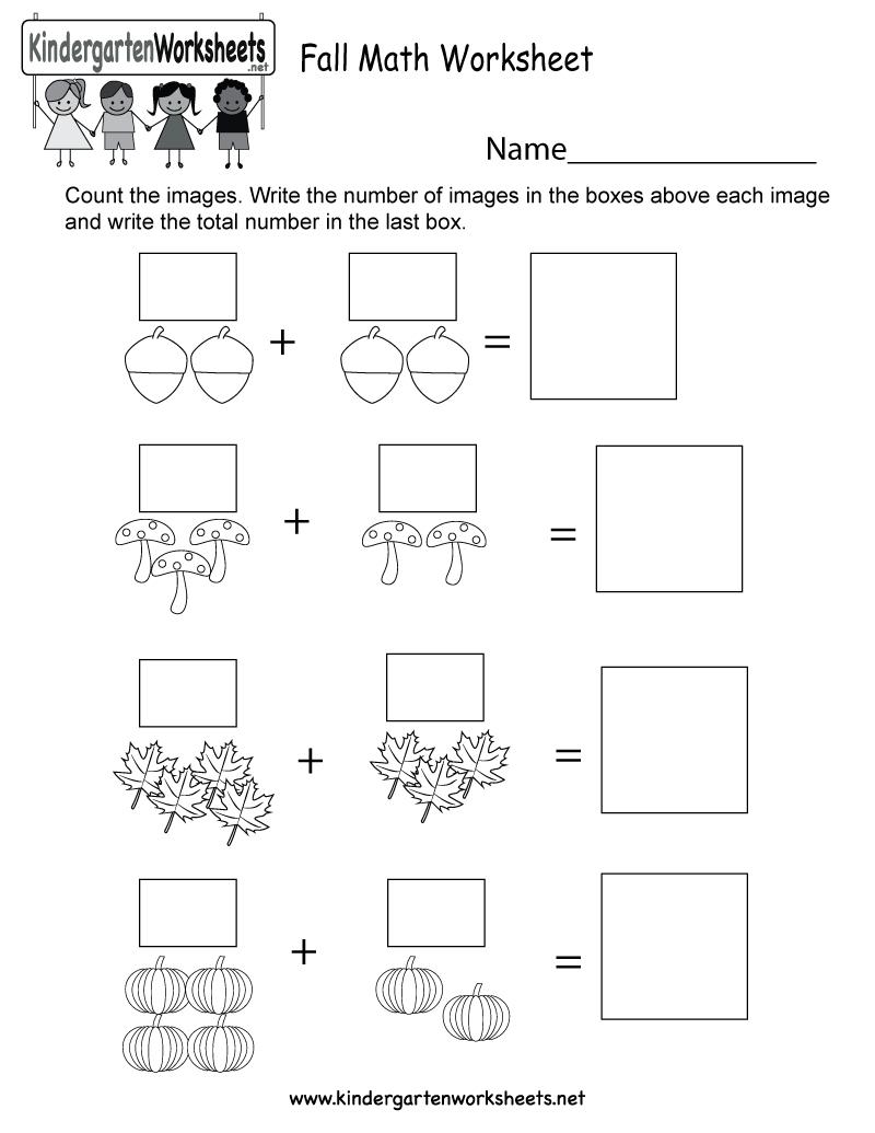 Fall Math Worksheet - Free Kindergarten Seasonal Worksheet For Kids | Free Printable Fall Worksheets Kindergarten