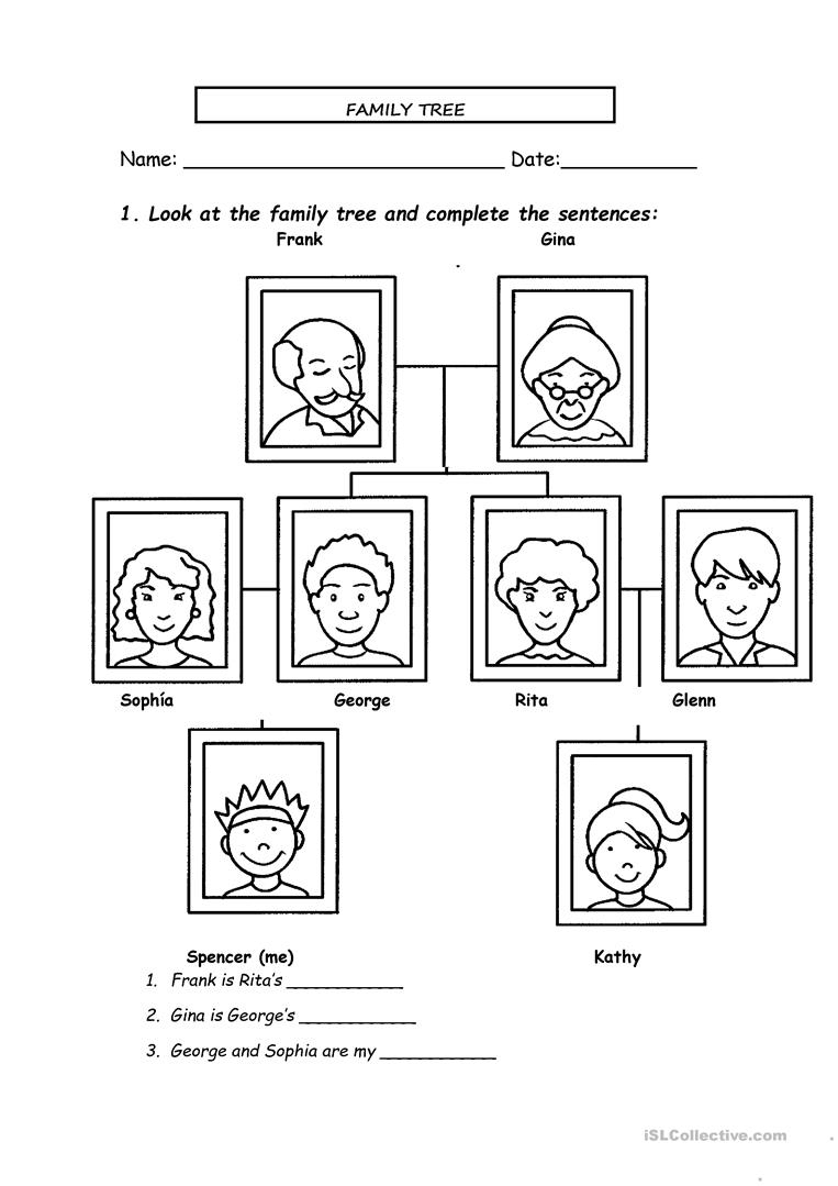 Family Tree Worksheet - Free Esl Printable Worksheets Madeteachers | Family Tree Worksheet Printable