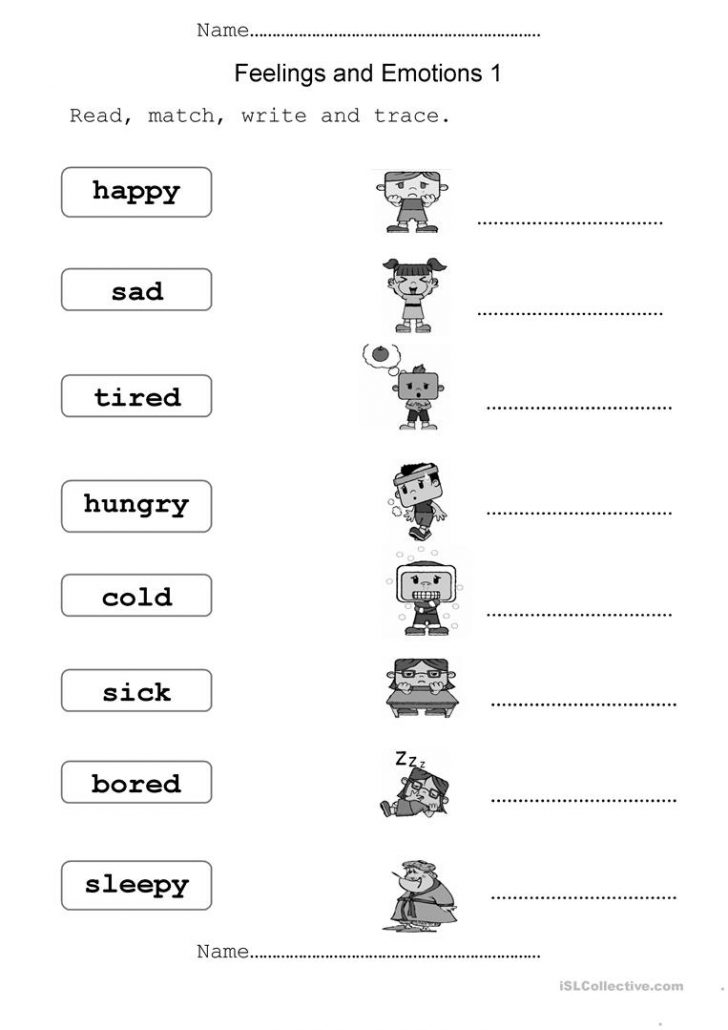 Feelings And Emotions Worksheets Printable