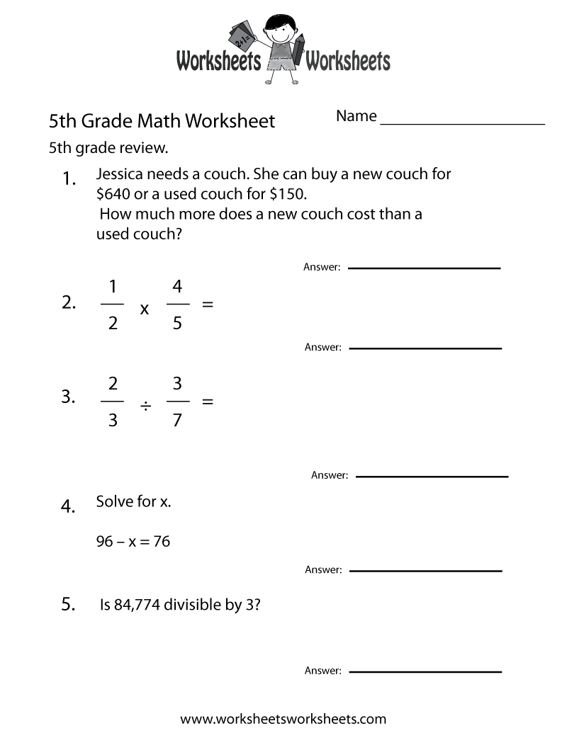 Fifth Grade Math Practice Worksheet Printable | Teaching Ideas | Free Printable Counseling Worksheets