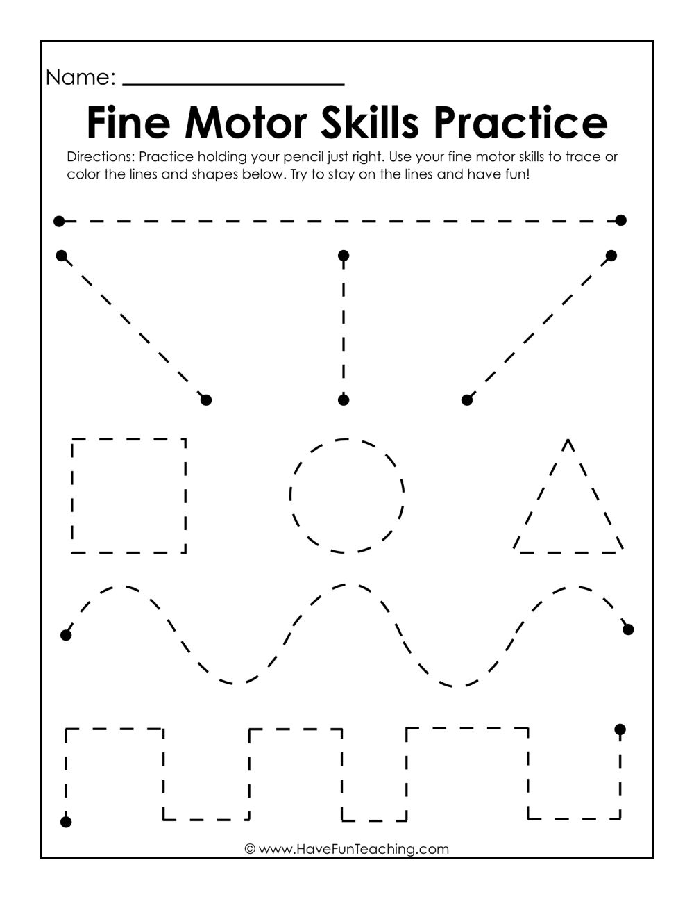 Fine Motor Skills Practice Worksheet | Preschool | Motor Skills | Fine Motor Skills Worksheets And Printables