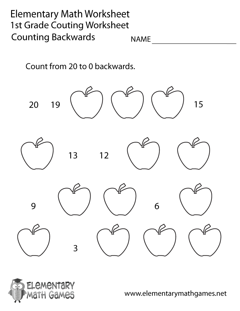 First Grade Counting Backwards Worksheet Printable | Math | 1St | Free Printable First Grade Math Worksheets